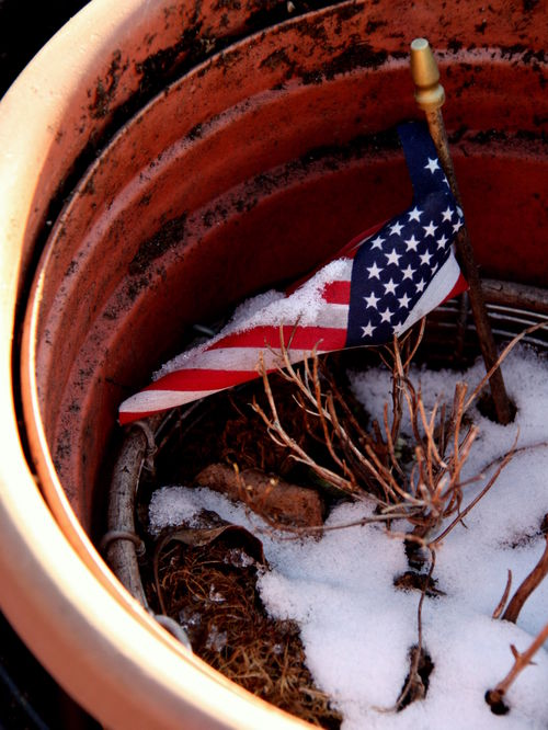 Snow, flag, pot